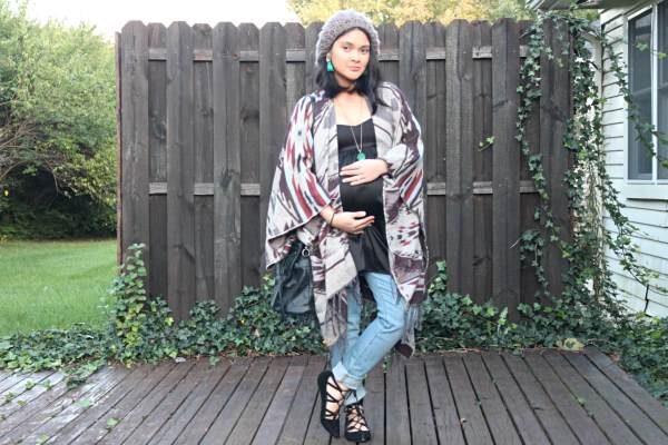 9e4a3e31f6462 ... NECKLACE: Minted Jewelry/ DRESS: Black silk babydoll dress; Forever 21/  SWEATER: Grazy Aztec Blanket Sweater; Charlotte Russe/ JEANS: skinny  maternity; ...
